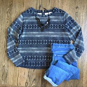 H&M black and white print long sleeve top